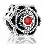 Abalorio flor piedra roja