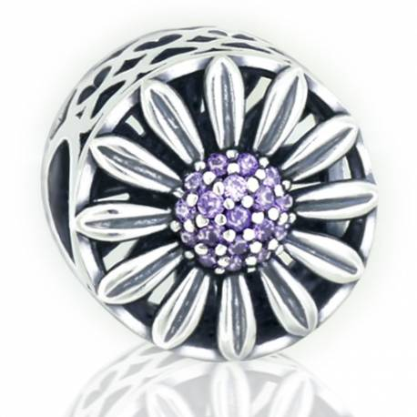 Abalorio flor piedra malva