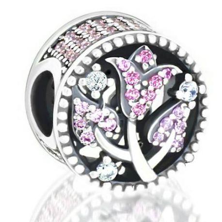 Abalorio rosa con piedras