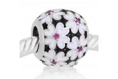 Abalorio redondo flores blancas esmalte
