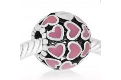 Abalorio de corazones con esmalte rosa